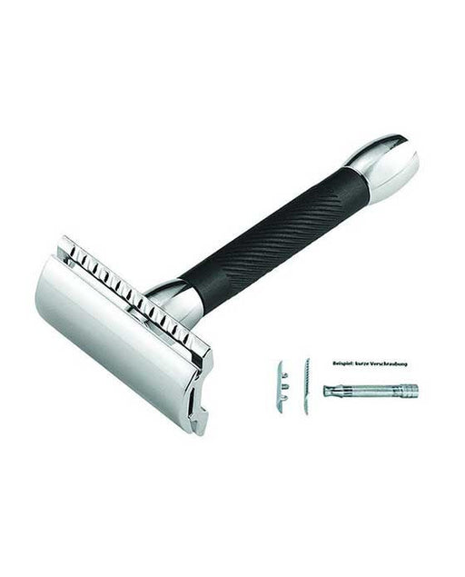 Merkur Double Edge Safety Razor, Straight Cut, Chrome, Black Handle