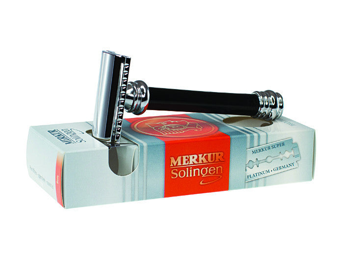 Merkur Double Edge Safety Razor, Straight Cut, Extra Long Handle, Black