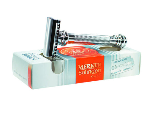 Merkur Double Edge Safety Razor, Slanted Cut, Extra Long Handle, Chrome