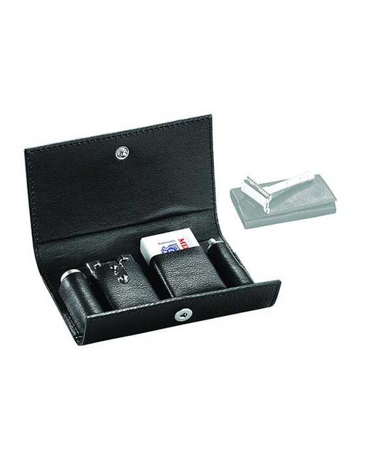 Merkur 3-Piece Travel Double Edge Safety Razor with Blades In Black Leather Case
