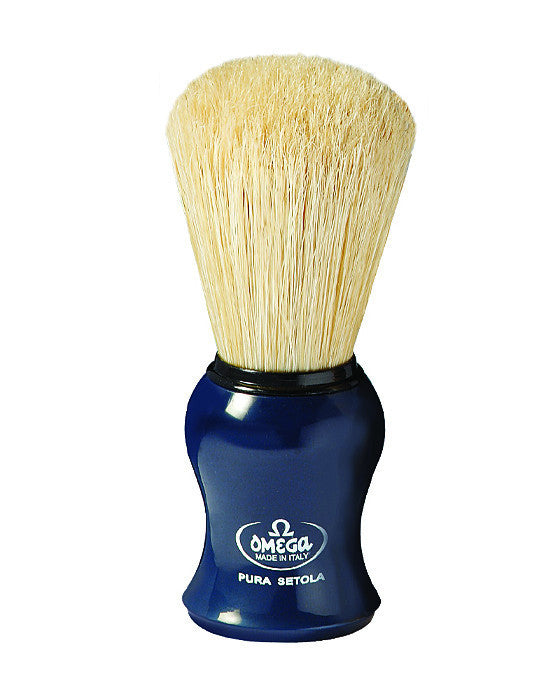 Omega 100% Pure Boar Bristle Shaving Brush, Blue