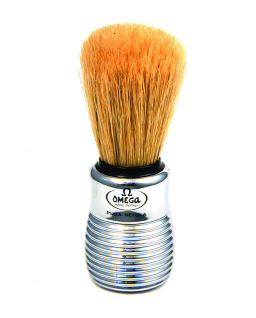 Omega Boar Bristle Shaving Brush With Chromed Plastic Handle