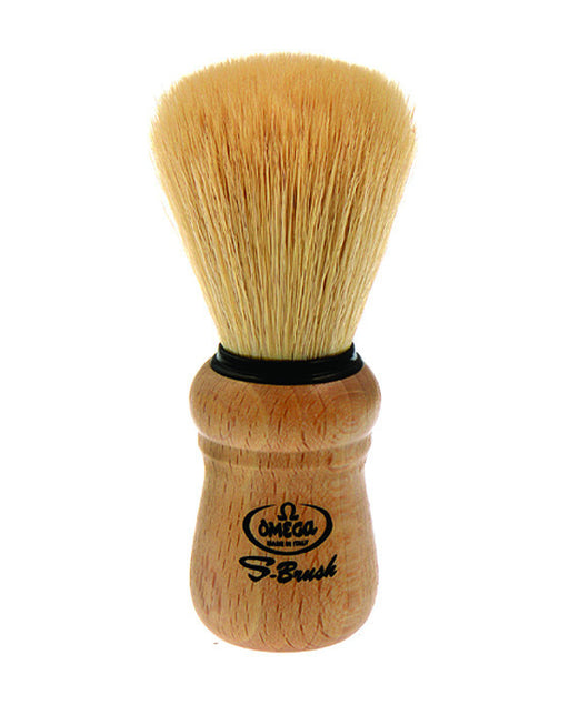 Omega Synthetic Fiber Shaving Brush, Beech Wood Handle