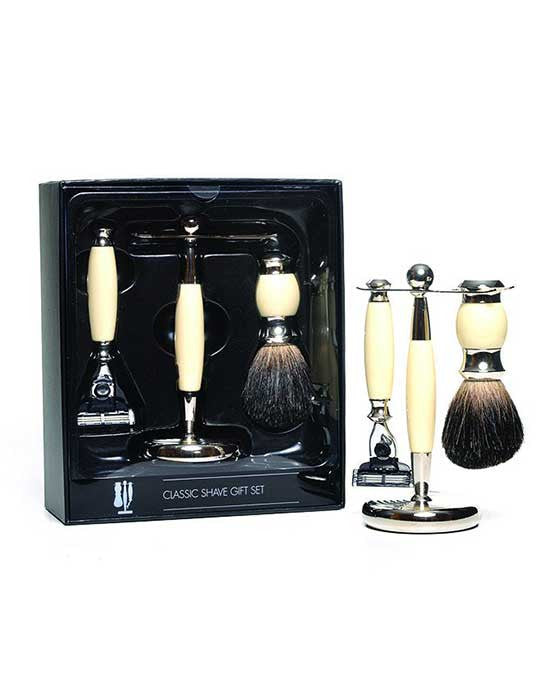 PureBadger Collection Set: Faux Ivory Pure Badger Shaving Brush, Mach3 Razor & Stand