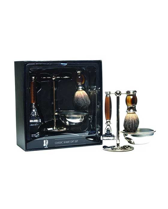 PureBadger Collection Set, Faux Ebony Pure Badger Shaving Brush, Mach3 Razor, Stand & Bowl