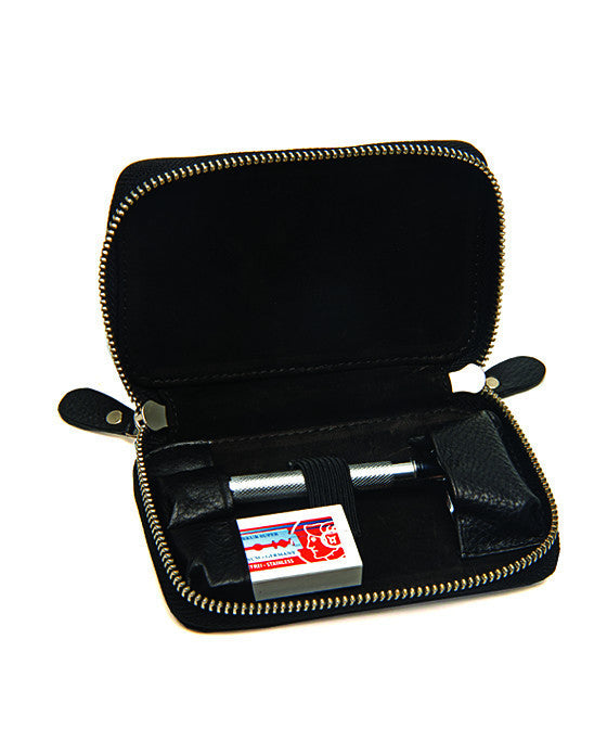Pure Badger Black Pebble Leather DE Safety Razor Case, With Nubuck Lining
