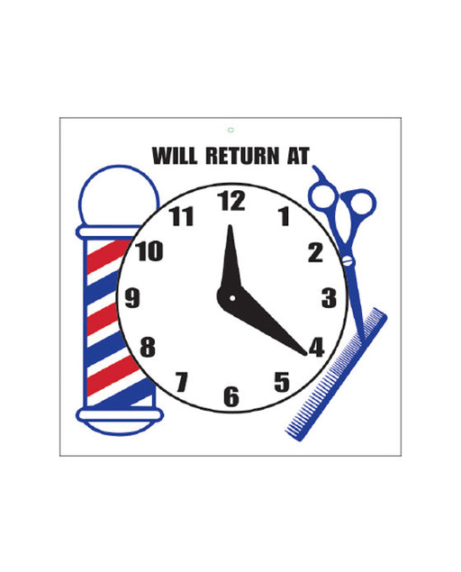 Barber Supplies Co. Will Return At Sign with Clock