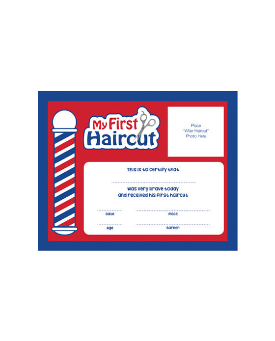 "Barber Supplies Co. 12 pk. ""My First Haircut"" Certificates"