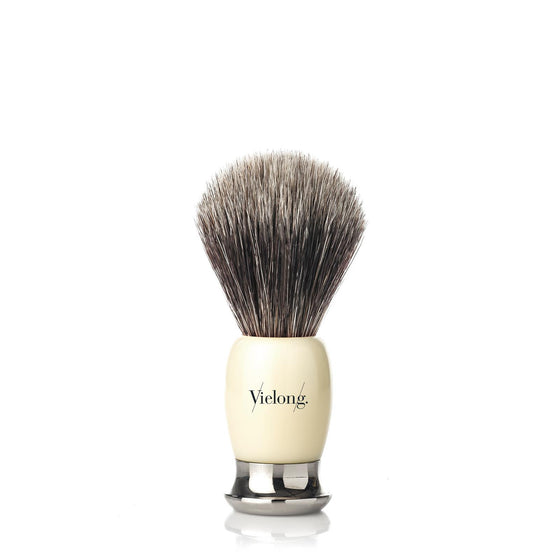 Vie-Long Shaving Brush, Brown Horse Hair Acrylic & Metal, Ivory & Silver.