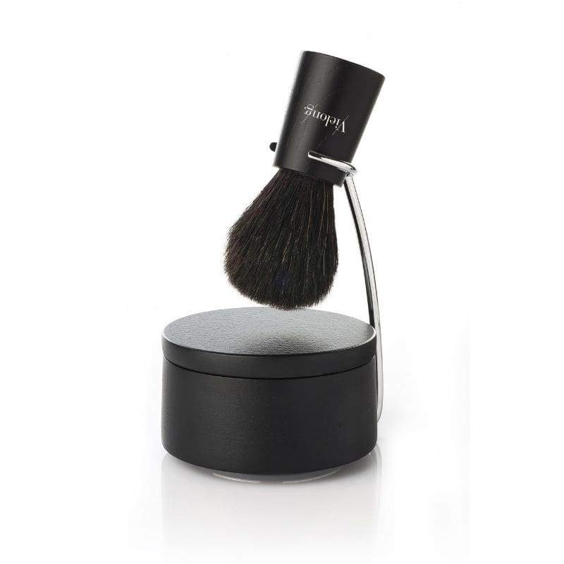Vie-Long Nordik Set Black Horse Hair Shaving Brush with Stand and Bowl