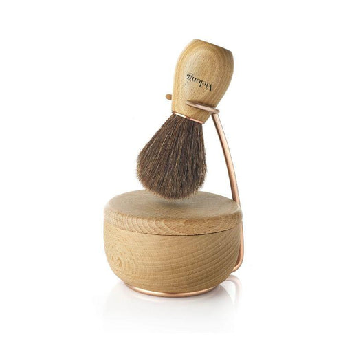 Vie-Long Wave Set Brown Horse Hair Shaving Brush with Stand and Bowl