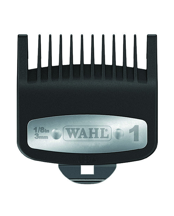 Every professional using Wahl electric razors requires the Individual Premium Guide Comb.   Essential for facilitating hair and facial hair maintenance, this #1 Level metal clipped comb eases cutting with each stride, manufactured with ballpoint tips and mineral filled plastic to provide smoothness in performance and contact.  Compatible exclusively with Wahl electric razors.