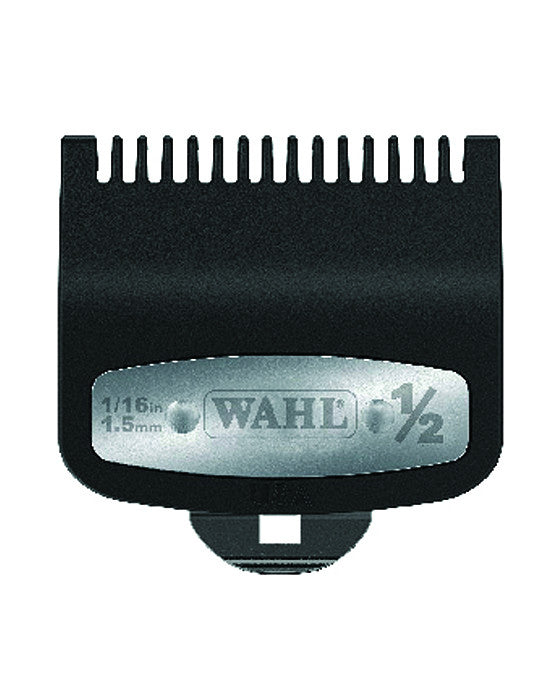 "Wahl Professional's #½ Individual Premium Guide features metal clips for blade security and ballpoint tips for easy use.   It also features glass and mineral filled plastic making for delicate use on hair.   This product is perfect for guiding Wahl clippers through the toughest hair without causing irritation or discomfort.   This product has been crafted with barbers in mind and is compatible with all of Wahl Professional's clippers.  (1/16"" / 1.5mm)"
