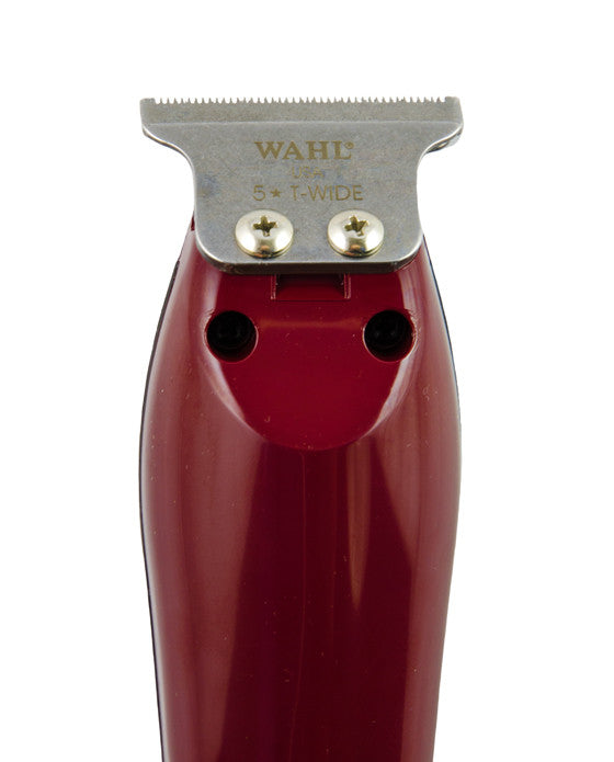 "Are you looking for a lightweight, high precision detailer trimmer? Look no further, than the Wahl 5 Star. It is a corded operation with a powerful rotary motor trimmer and an adjustable T-wide blade. The extra-wide precision close-cutting blade is 1/4"" wider and is fixed at ""zero overlap"" for the closest trim.  Includes 3 T-shaped guides - 1/16"" to 1/4"".  Kit Includes:  Professional Trimmer 3 Trimming Guides (1/6"" - 3/16"" ) Oil Cleaning Brush Operating Instructions Red Blade Guard"