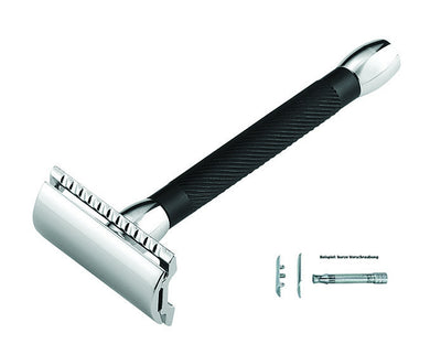 Merkur Double Edge Safety Razor, Straight Cut, Chrome, Extra Long Black Handle,