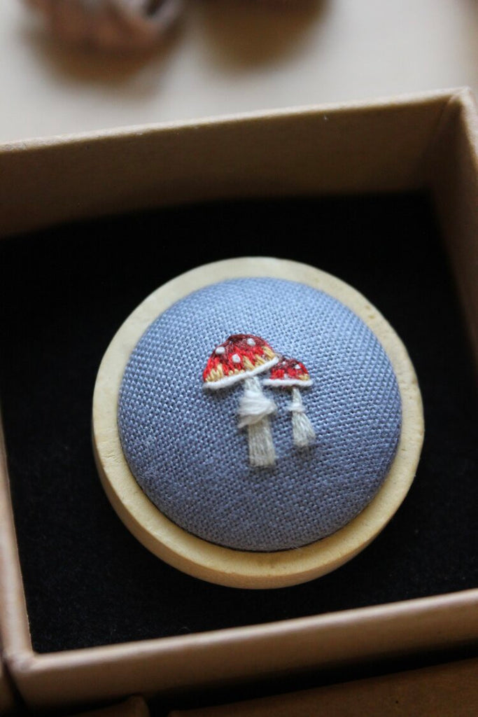 Hand Embroidered Pin by Lemon Pepper Studio