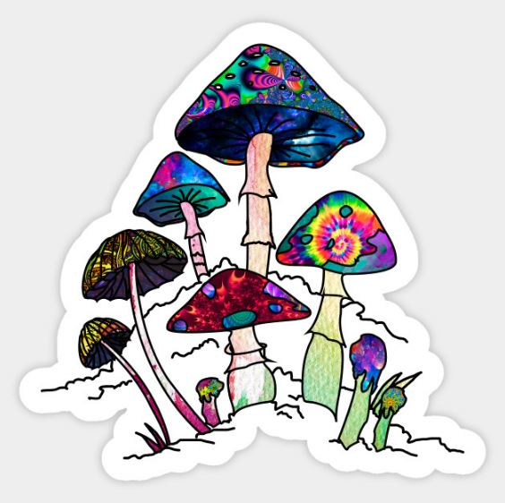 Mushrooms Stickers by Visionary Sea