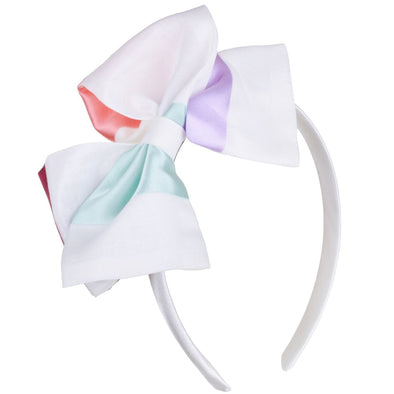 Multi Ribbon Stripe Hand Tied Bow Fancy Hairband