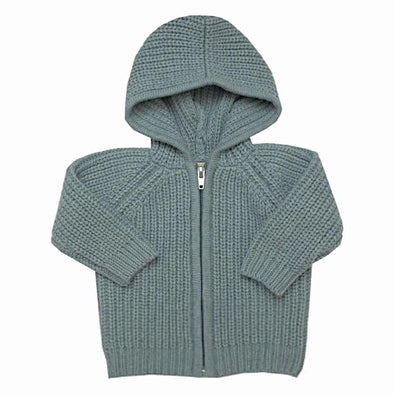Grey Merino Wool Zip Cardigan