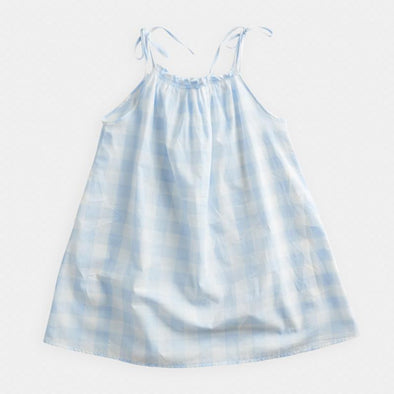 Blue Gingham Gathered Sundress