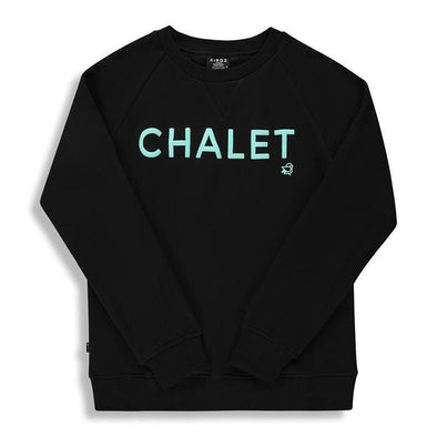 Super Warm Cotton Fleece Black Chalet  Skiing Sweater