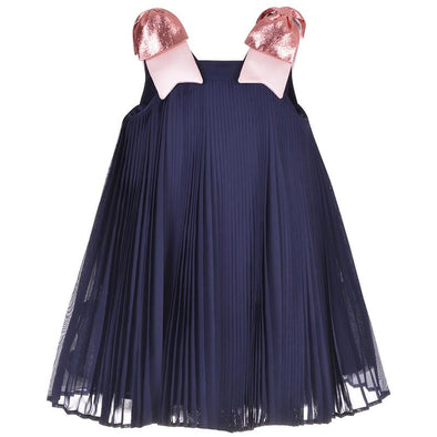Pleated Trapeze Dress Navy