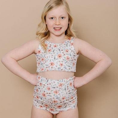 Girls High Waisted Two-Piece Swimsuit Blooming Peach
