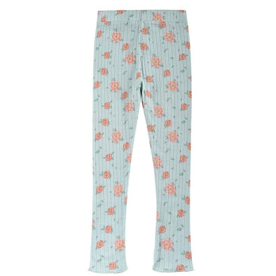 Anandou Leggings Vintage Blue Flowers
