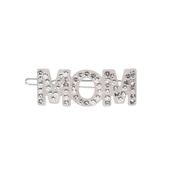 Mom Soft Pink Hair Clip with Crystals