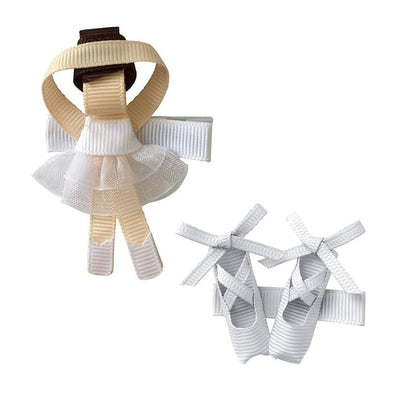 White Ballerina Alligator Clip Set