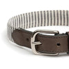 Charcoal Stripe & Leather Dog Collar