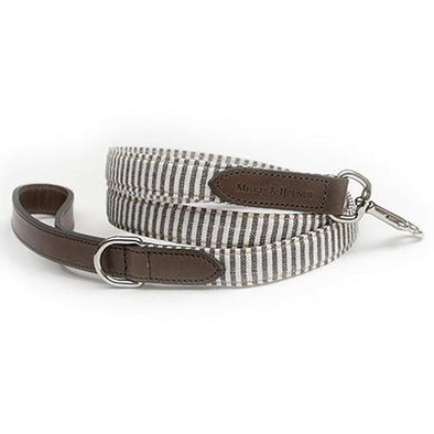 Charcoal Stripe & Leather Dog Lead