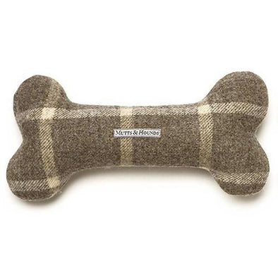 Slate Tweed Squeaky Bone Dog Toy