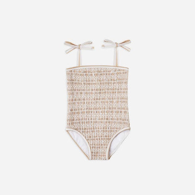Almond Stripe Smocked One-Piece