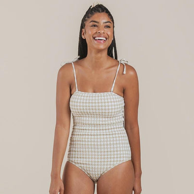 Butter Gingham Smocked One-Piece Swimsuit