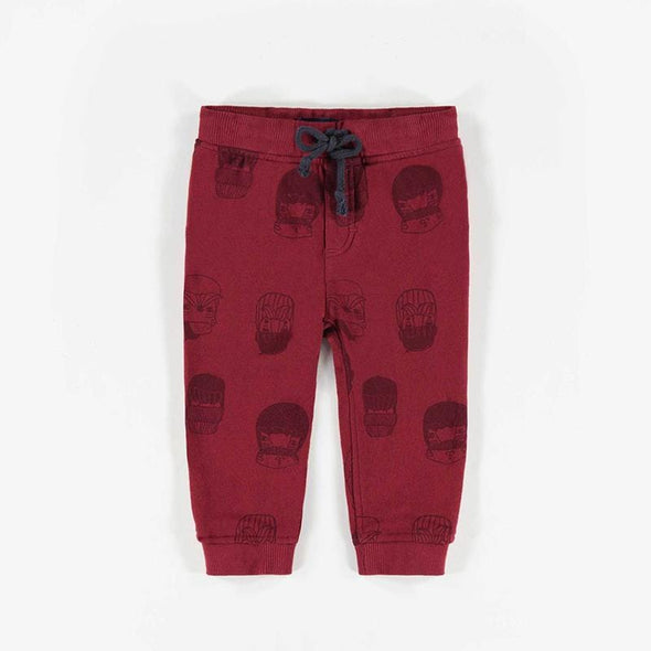 Red Patterned Knit Cotton Pants
