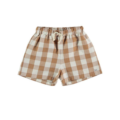 Vichy Cotton Linen Shorts with Adjustable Waistband in Brown