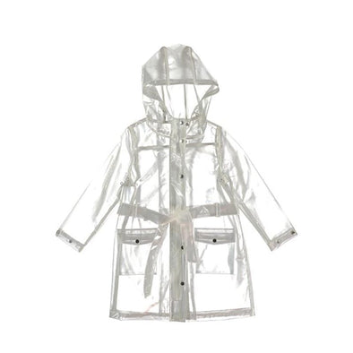 Trendy Transparent Raincoat with a Hoodie for Kids