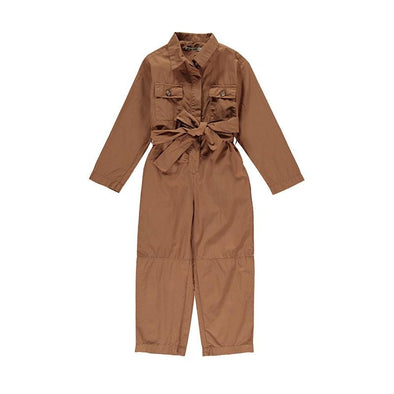 Organic Cotton Long Sleeve Camel Pecher Jumpsuit