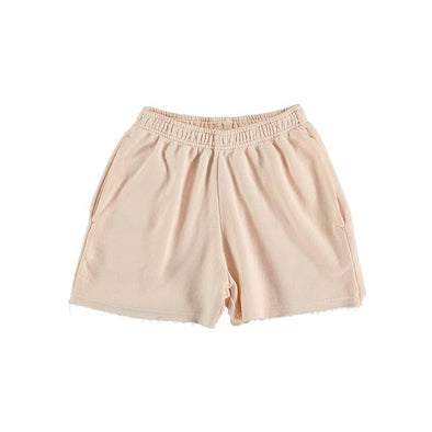 Unisex Organic Cotton Linen Shorts for Kids in Blush Pink