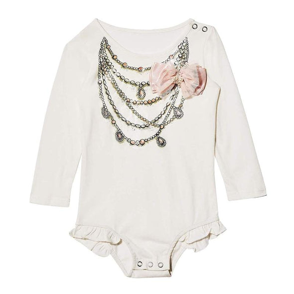 Cute White Perla Tutu Onesie with Bow and Ruffles