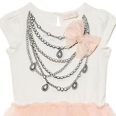 Cute White and Pink Perla Tutu Baby Dress with Pearls and Cute Bow