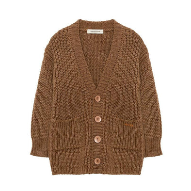 Brown Alpaca Baby Wool Cardigan with Big Brown Buttons  Perfect for Fall