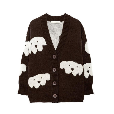 Oversized Herbert Alpaca Baby Wool Cardigan with White Dog Print
