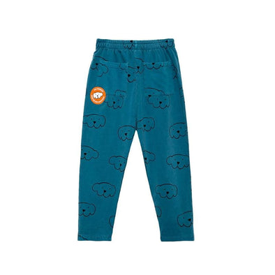 Dark Green Organic Cotton Herbert Pants with Dog Print