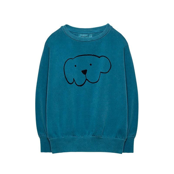 Dark Green Organic Cotton Pigment Dyed Herbert Sweatshirt with Dog Print