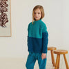 Little Girl Wearing Herbert Alpaca Baby Wool Blue & Dark Green Sweater