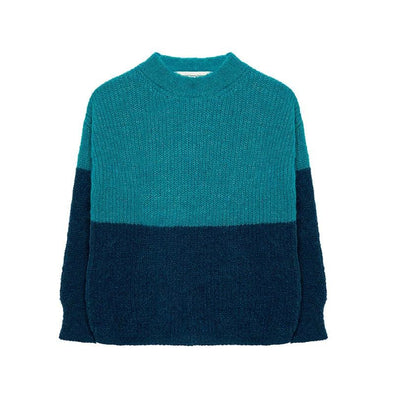Herbert Alpaca Baby Wool Blue & Dark Green Sweater