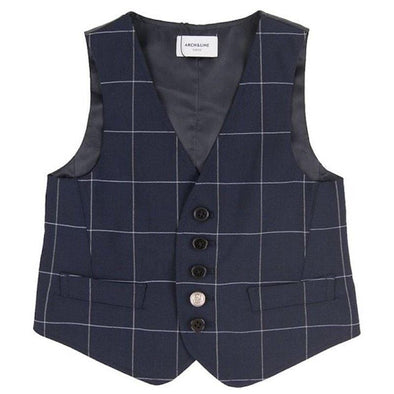 Perfect Valentine's Boy's Elegant Navy Check Vest