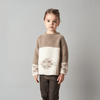 Beige and white Patterned Knitted Merino Sweater on Little Girl